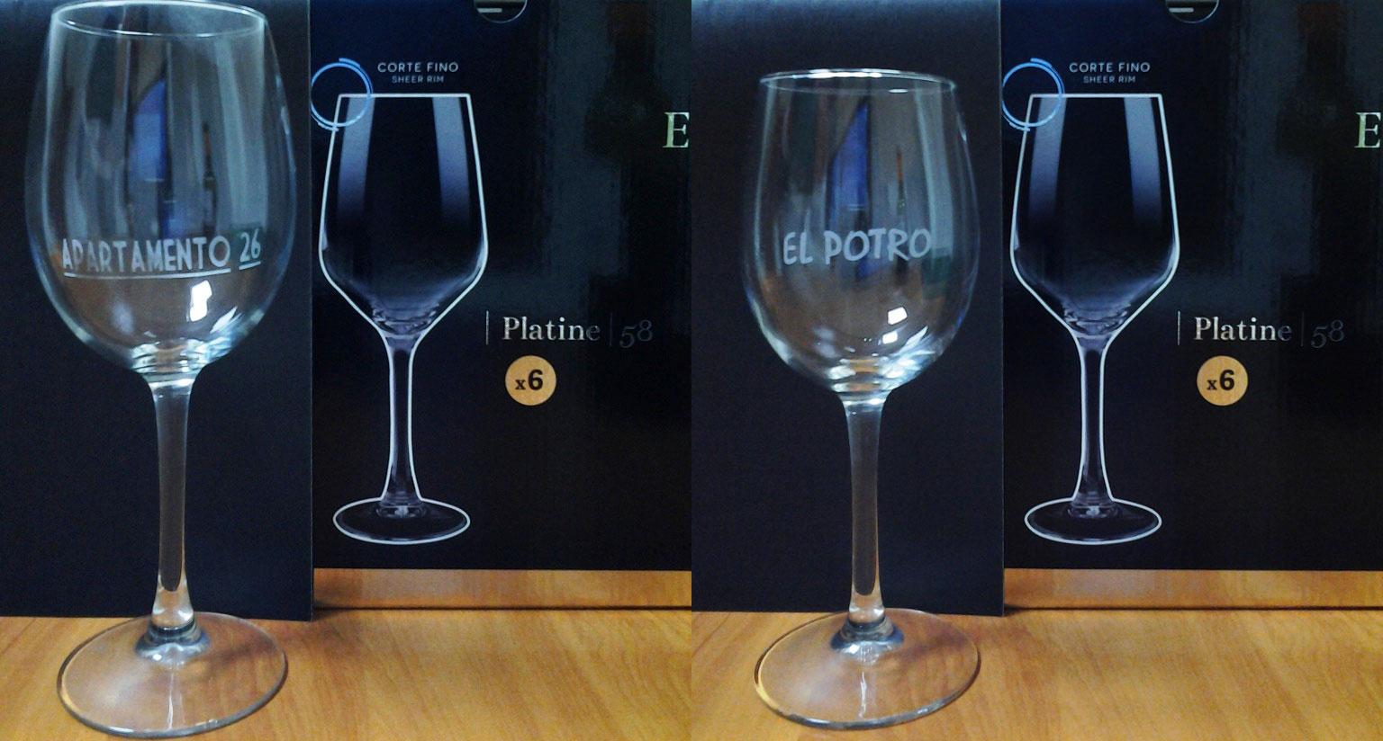 grabado de vidrio